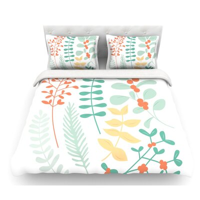 Deck the Hollies Featherweight Duvet Cover Color: Orange/Teal, Size: Queen, Fabric: Lightweight Polyester