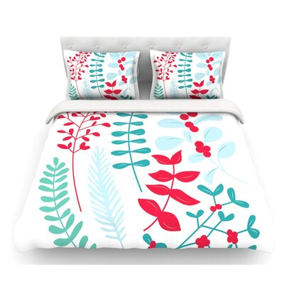 Deck the Hollies Featherweight Duvet Cover Color: Red/Teal, Size: Queen, Fabric: Cotton