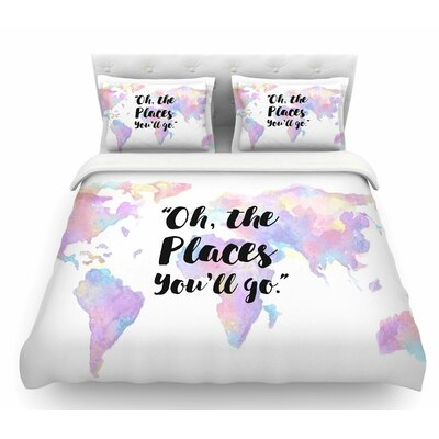 The Places Youll Go  Featherweight Duvet Cover Size: Queen