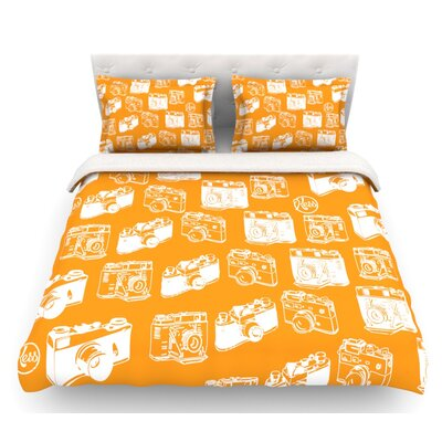 Camera  Featherweight Duvet Cover Color: Orange, Size: Queen