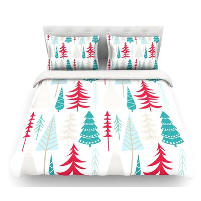 Happy Forest  Featherweight Duvet Cover Color: Red/Blue, Size: King