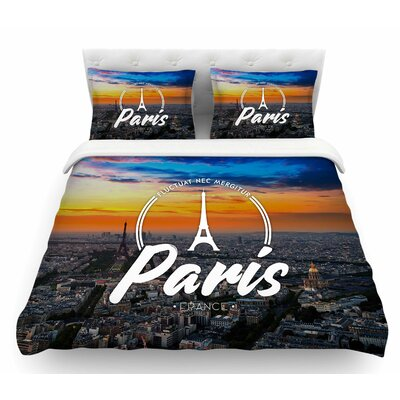 Paris  Travel Featherweight Duvet Cover Size: Queen