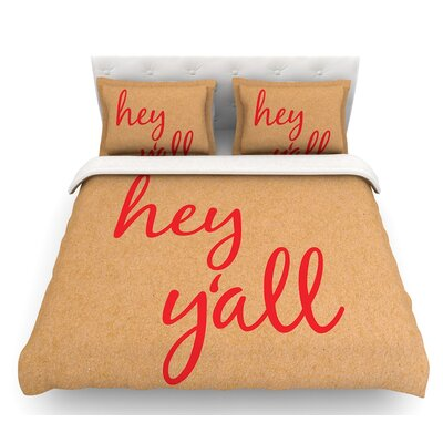 Hey Y'all  Featherweight Duvet Cover Size: King, Color: Red/Brown