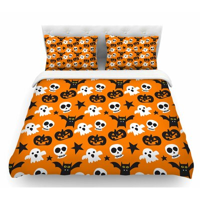 Spooktacular  Halloween Featherweight Duvet Cover Size: Twin