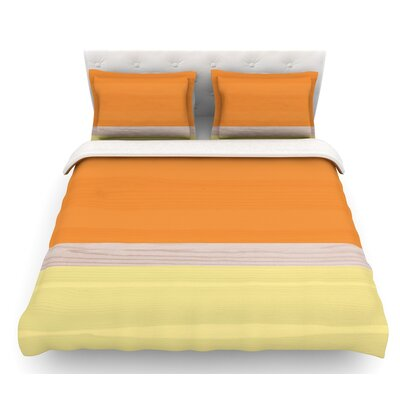Spring Swatch  Featherweight Duvet Cover Color: Tangerine/Orange/Yellow, Size: Twin