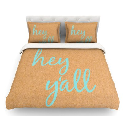 Hey Yall  Featherweight Duvet Cover Color: Brown/Blue, Size: Twin