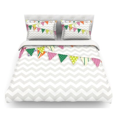 Flags  Featherweight Duvet Cover Size: Twin, Color: Gray/White, Fabric: Woven Polyester