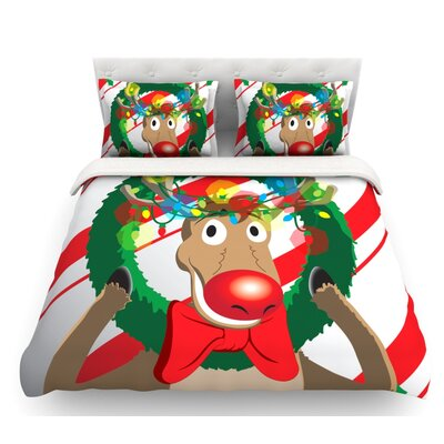Reindeer  Seasonal Featherweight Duvet Cover Size: Queen, Fabric: Lightweight Polyester
