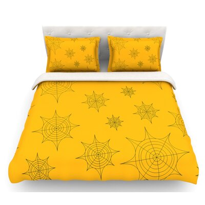 Mini Webs  Featherweight Duvet Cover Size: Queen, Color: Orange