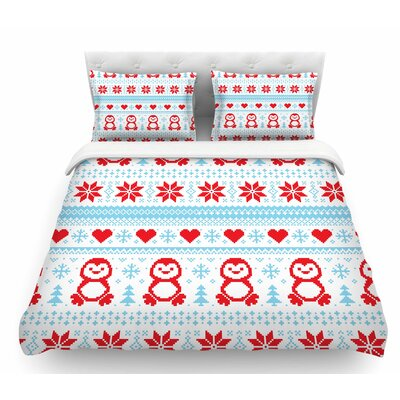 Pixel Penguin Holiday  Christmas Featherweight Duvet Cover Size: Queen