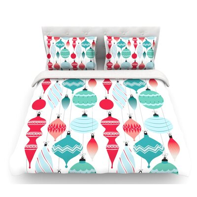 Mixed Ornaments  Featherweight Duvet Cover Color: Red/Blue, Size: Queen, Fabric: Lightweight Polyester