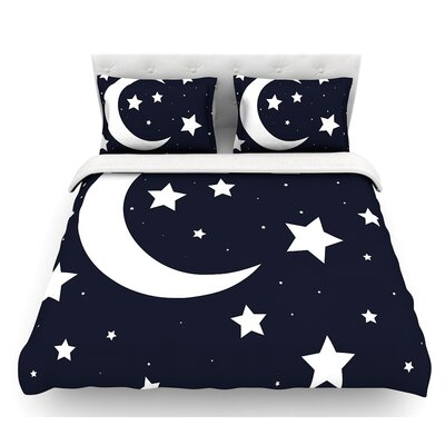 Moon and Stars  Featherweight Duvet Cover Size: Queen