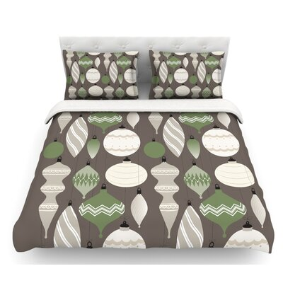 Mixed Ornaments  Featherweight Duvet Cover Color: Brown/Green/Gray, Size: Queen, Fabric: Lightweight Polyester