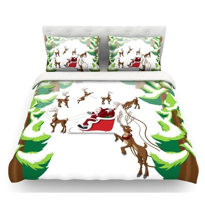 Forest Sleigh Scene  Holiday Illustration Featherweight Duvet Cover Size: Queen