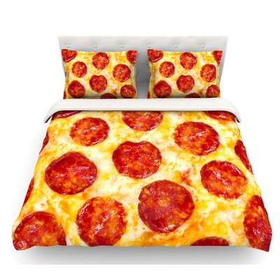 Pizza My Heart  Pepperoni Cheese Featherweight Duvet Cover Size: King