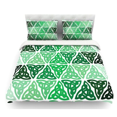 Celtic Knot  Forest Featherweight Duvet Cover Size: Twin