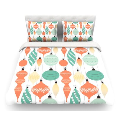 Mixed Ornaments  Featherweight Duvet Cover Color: Orange/Teal, Size: Queen, Fabric: Cotton