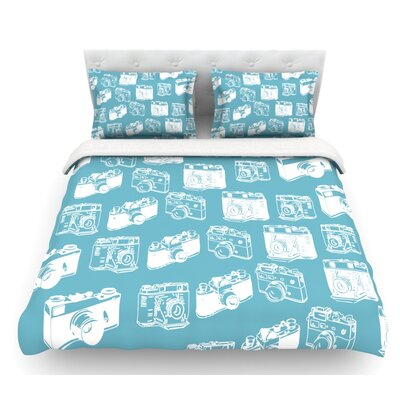 Camera  Featherweight Duvet Cover Color: Aqua, Size: King