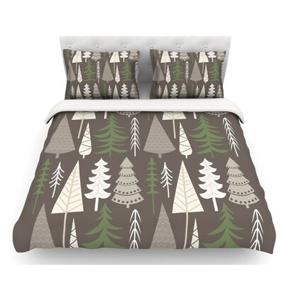 Happy Forest  Featherweight Duvet Cover Color: Brown/Green, Size: King