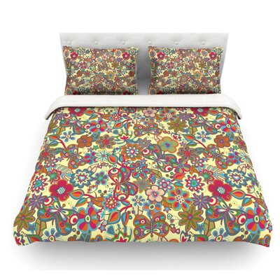 My Butterflies and Flowers by Julia Grifol Featherweight Duvet Cover Size: Queen