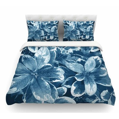 Leaves by Julia Grifol Featherweight Duvet Cover Color: Blue, Size: King