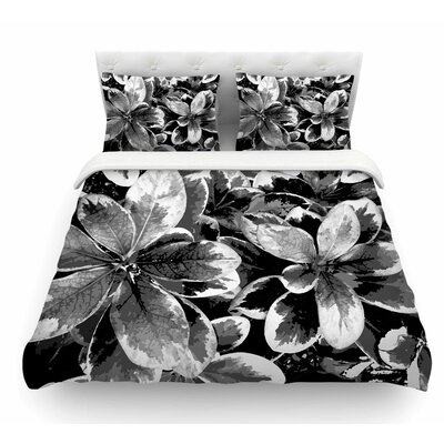 Leaves by Julia Grifol Featherweight Duvet Cover Color: Gray, Size: King