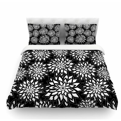 Garden by Julia Grifol Featherweight Duvet Cover Color: Black/White, Size: Queen