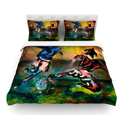 Slidetackle by Josh Serafin Soccer Featherweight Duvet Cover Size: Queen