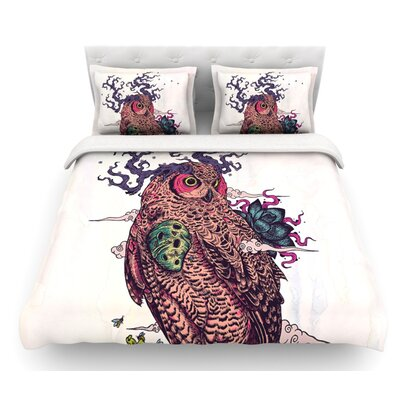 Regrowth by Mat Miller Natural Owl Featherweight Duvet Cover Size: Queen, Fabric: Woven Polyester