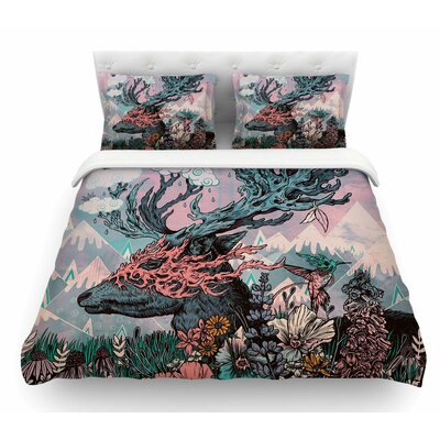 Journeying Spirit Deer by Mat Miller Fantasy Featherweight Duvet Cover Size: Queen