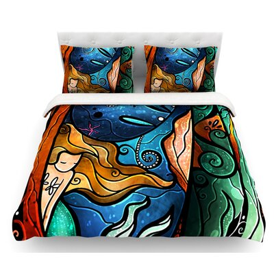 Fathoms Below Mermaid by Mandie Manzano Featherweight Duvet Cover Size: Twin, Fabric: Woven Polyester