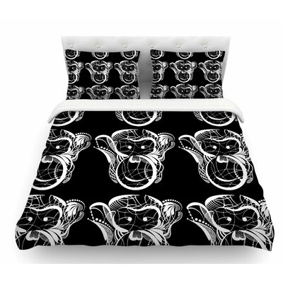 Monkey by Maria Bazarova Animals Featherweight Duvet Cover Size: Queen