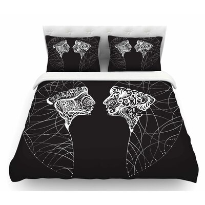 Two Twins by Maria Bazarova Featherweight Duvet Cover Size: King