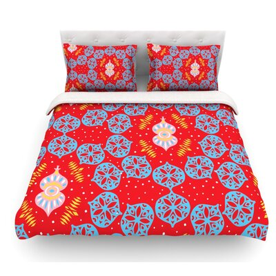 Frosted by Miranda Mol Featherweight Duvet Cover Size: Queen, Color: Red, Fabric: Lightweight Polyester