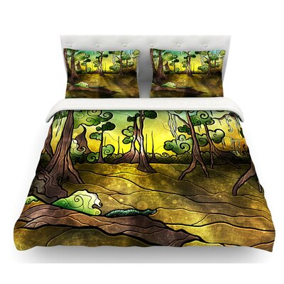 Aligator Swamp by Mandie Manzano Featherweight Duvet Cover Size: Twin, Fabric: Lightweight Polyester