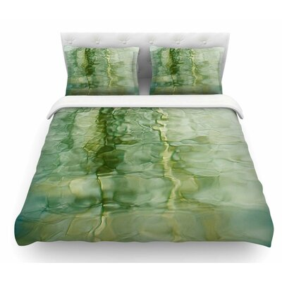 Fluidity Series by Malia Shields Featherweight Duvet Cover Size: King, Color: Green