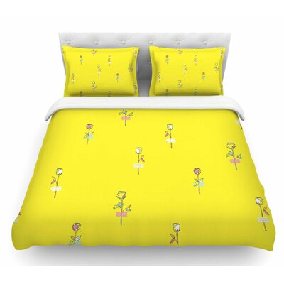 Rosewall by MaJoBV Floral Featherweight Duvet Cover Color: Yellow, Size: Twin