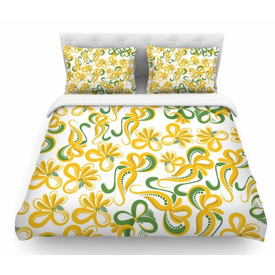 Flowers by Maria Bazarova Abstract Digital Featherweight Duvet Cover Size: Twin