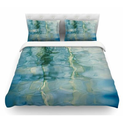 Fluidity Series by Malia Shields Featherweight Duvet Cover Color: Teal/Green, Size: Queen