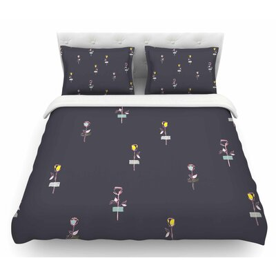Rosewall by MaJoBV Floral Featherweight Duvet Cover Size: King, Color: Gray