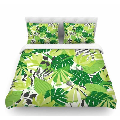 Tropicana by Jacqueline Milton Featherweight Duvet Cover Color: Lime/Green/White, Size: King