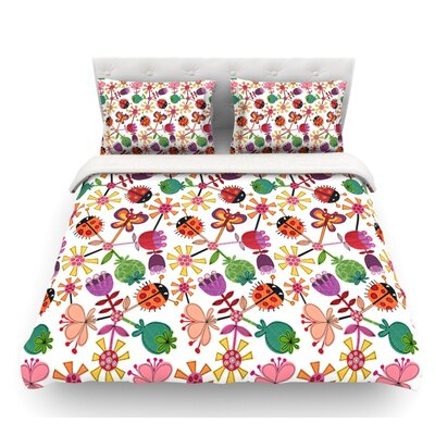 Garden Floral by Jane Smith Plants Bugs Featherweight Duvet Cover Size: Queen