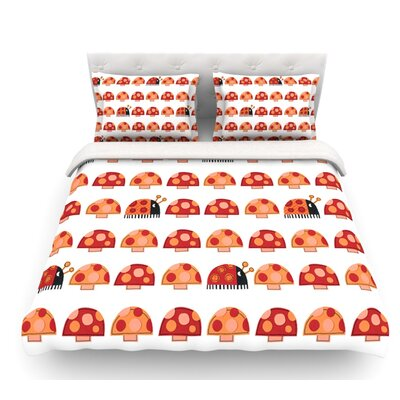 Garden Ladybugs by Jane Smith Featherweight Duvet Cover Size: Twin, Fabric: Lightweight Polyester