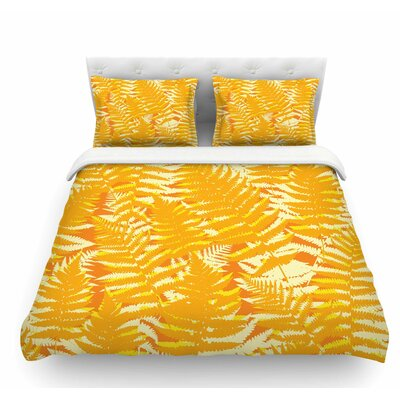 Fun Fern by Jacqueline Milton Featherweight Duvet Cover Size: Queen, Color: Orange/Gold