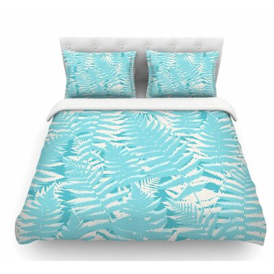 Fun Fern by Jacqueline Milton Featherweight Duvet Cover Color: Sky Blue/Aqua, Size: Twin