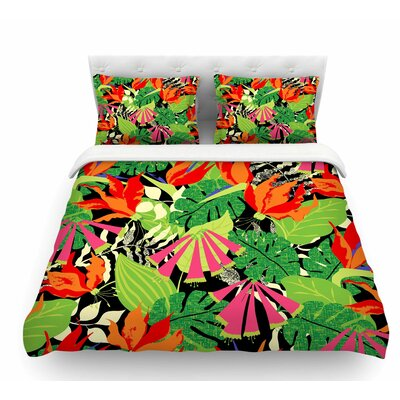 Tropicana by Jacqueline Milton Featherweight Duvet Cover Color: Hot Orange/Green, Size: King