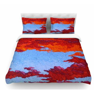 Spring Sunset Over Wildflowers Featherweight Duvet Cover Size: Queen