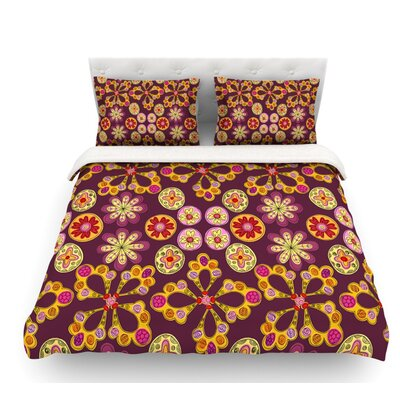 Indian Jewelry Floral by Jane Smith Featherweight Duvet Cover Size: Queen, Fabric: Lightweight Polyester
