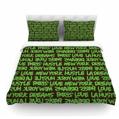 Lux Writing by Just L Featherweight Duvet Cover Size: King, Color: Green/Brown