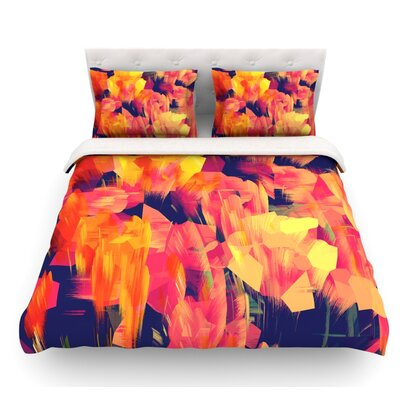 Geo Flower by Kathryn Pledger Featherweight Duvet Cover Size: Queen